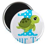 Sea Turtle First Birthday Blue Polka Dot Magnets
