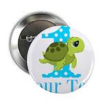 Sea Turtle First Birthday Blue Polka Dot 2.25