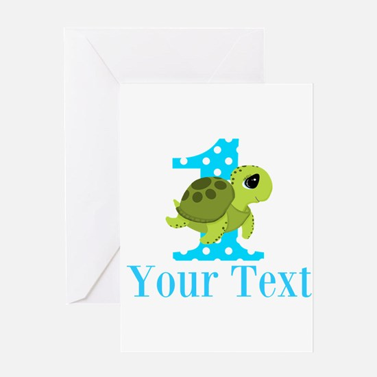 Sea Turtle First Birthday Blue Polka Dot Greeting