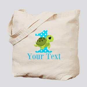 Sea Turtle First Birthday Blue Polka Dot Tote Bag