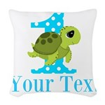Sea Turtle First Birthday Blue Polka Dot Woven Thr