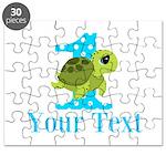 Sea Turtle First Birthday Blue Polka Dot Puzzle