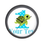 Sea Turtle First Birthday Blue Polka Dot Wall Cloc