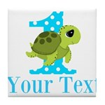 Sea Turtle First Birthday Blue Polka Dot Tile Coas