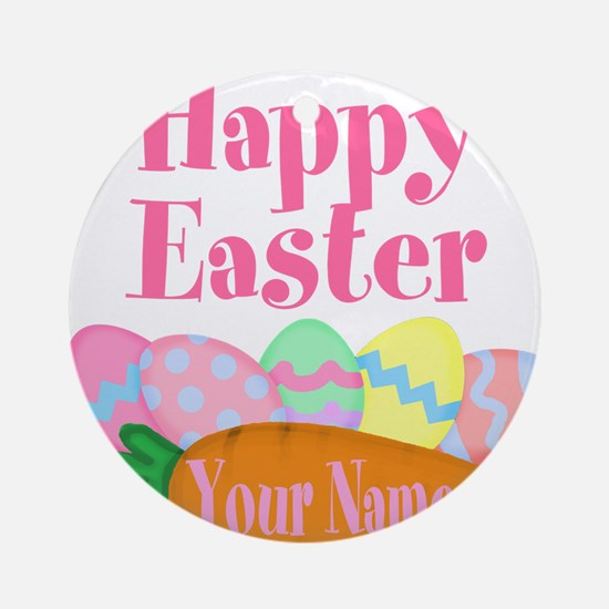 Happy Easter Carrot and Eggs Round Ornament