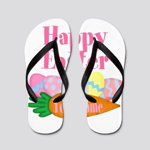Happy Easter Carrot and Eggs Flip Flops