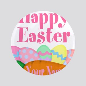 Happy Easter Carrot and Eggs Button