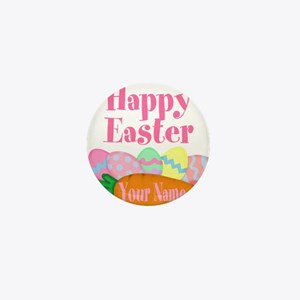 Happy Easter Carrot and Eggs Mini Button