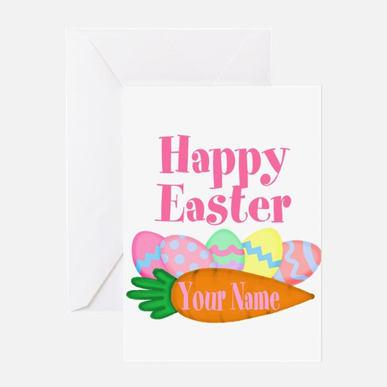 Happy Easter Carrot and Eggs Greeting Cards