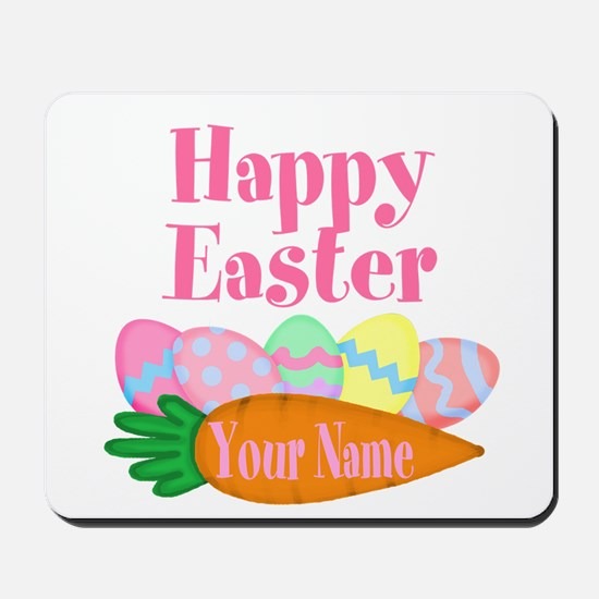 Happy Easter Carrot and Eggs Mousepad