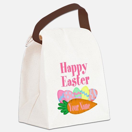 Happy Easter Carrot and Eggs Canvas Lunch Bag