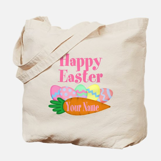 Happy Easter Carrot and Eggs Tote Bag