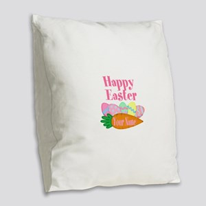 Happy Easter Carrot and Eggs Burlap Throw Pillow