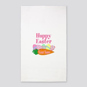 Happy Easter Carrot and Eggs Area Rug