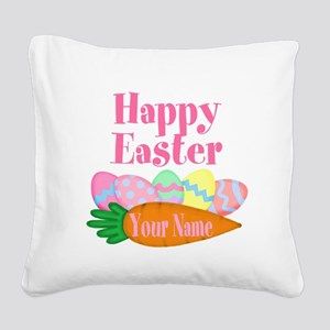 Happy Easter Carrot and Eggs Square Canvas Pillow