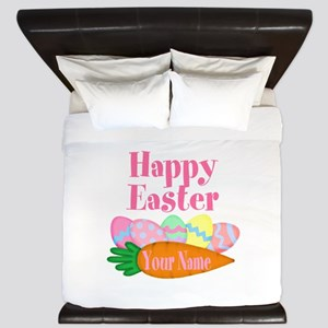 Happy Easter Carrot and Eggs King Duvet