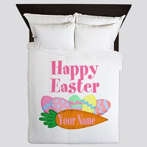 Happy Easter Carrot and Eggs Queen Duvet