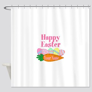 Happy Easter Carrot and Eggs Shower Curtain