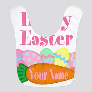 Happy Easter Carrot and Eggs Polyester Baby Bib