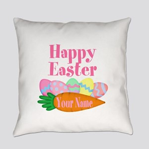 Happy Easter Carrot and Eggs Everyday Pillow