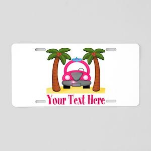 Personalizable Beach Pink Car Aluminum License Pla