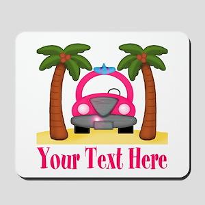 Personalizable Beach Pink Car Mousepad