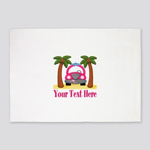 Personalizable Beach Pink Car 5'x7'Area Rug