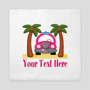 Personalizable Beach Pink Car Queen Duvet
