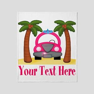 Personalizable Beach Pink Car Throw Blanket