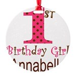 Personalizable First Birthday Pink Brown Ornament