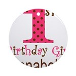 Personalizable First Birthday Pink Brown Round Orn