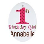 Personalizable First Birthday Pink Brown Oval Orna