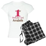 Personalizable First Birthday Pink Brown Pajamas