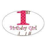 Personalizable First Birthday Pink Brown Sticker