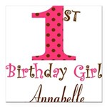 Personalizable First Birthday Pink Brown Square Ca