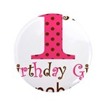 Personalizable First Birthday Pink Brown Button