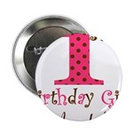 Personalizable First Birthday Pink Brown 2.25