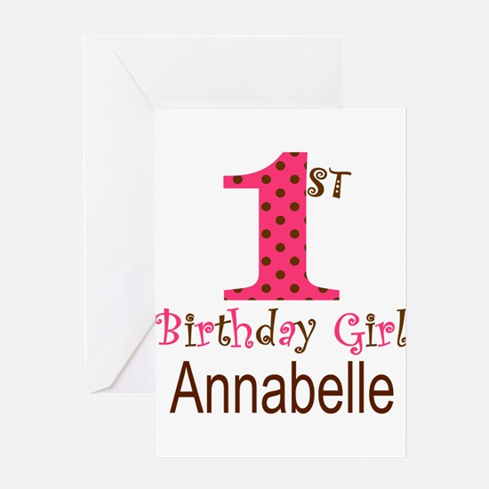 Personalizable First Birthday Pink Brown Greeting