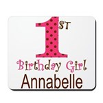 Personalizable First Birthday Pink Brown Mousepad