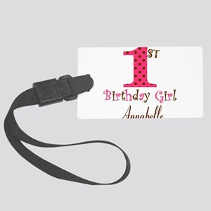 Personalizable First Birthday Pink Brown Luggage T