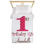 Personalizable First Birthday Pink Brown Twin Duve