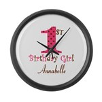 Personalizable First Birthday Pink Brown Large Wal