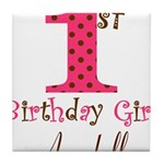 Personalizable First Birthday Pink Brown Tile Coas
