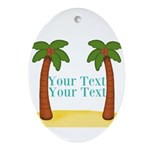 Personalizable Palm Trees Oval Ornament