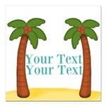 Personalizable Palm Trees Square Car Magnet 3