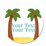 Personalizable Palm Trees Round Car Magnet