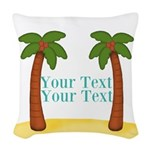Personalizable Palm Trees Woven Throw Pillow