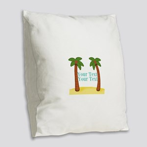 Personalizable Palm Trees Burlap Throw Pillow