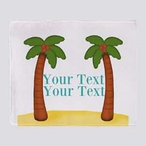 Personalizable Palm Trees Throw Blanket