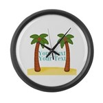 Personalizable Palm Trees Large Wall Clock